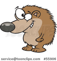 Cartoon Grinning Hedgehog Standing by Ron Leishman