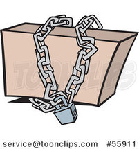 Cartoon Box Locked up in Chains by Ron Leishman