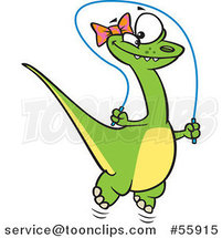 Cartoon Happy Green Female Dinosaur Playing with a Jump Rope by Ron Leishman