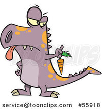 Cartoon Disgusted Dinosaur Holding out a Carrot by Ron Leishman