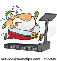 Cartoon Santa Trying to Run and Lose Weight on a Treadmill by Toonaday