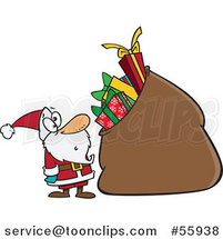 Cartoon Santa Staring at a Giant Sack Full of Gifts by Toonaday