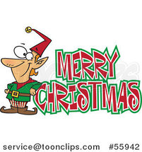 Cartoon Merry Christmas Greeting and Happy Elf by Toonaday