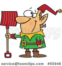 Cartoon Christmas Elf with a Snow Shovel by Toonaday