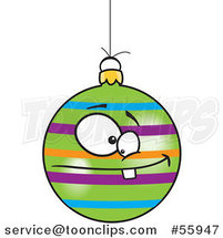 Cartoon Striped Goofy Christmas Bauble by Toonaday