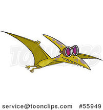 Cartoon Green Pterodactyl Dinosaur Flying in Goggles by Ron Leishman