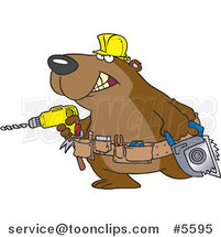 Cartoon Handy Bear with Tools by Ron Leishman