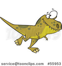 Clipart of a Cartoon Green T Rex Dinosaur Walking | Royalty Free Vector Illustration by Ron Leishman
