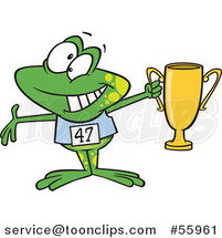 Cartoon Winner Frog Holding up a Trophy by Toonaday