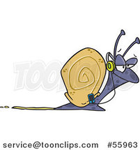 Cartoon Happy Snail Listening to Music by Ron Leishman