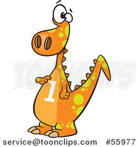 Cartoon Orange Dinosaur with a Number One on His Tummy by Ron Leishman
