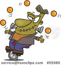 Cartoon Talented Frankenstein Juggling and Riding a Unicycle by Ron Leishman