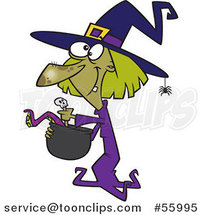 Cartoon Green Halloween Witch Making Soup by Toonaday