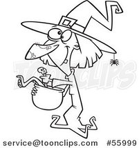 Black and White Cartoon Halloween Witch Making Soup by Ron Leishman