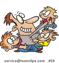 Cartoon Father Horse Playing with His Three Sons by Toonaday