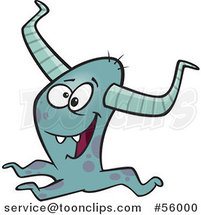 Cartoon Happy Horned Blue Monster by Ron Leishman