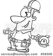 Black and White Cartoon Handy Guy Decked out with Tools and Holding a Thumb up by Ron Leishman