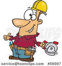 Cartoon White Handy Guy Decked out with Tools and Holding a Thumb up by Ron Leishman