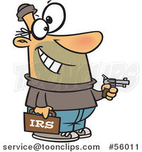 Cartoon White IRS Theft Guy Holding a Gun by Ron Leishman