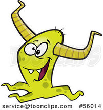 Cartoon Happy Horned Green Monster by Ron Leishman