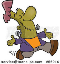 Cartoon Happy Frankenstein Walking with His Arms Open and Face Upwards by Toonaday