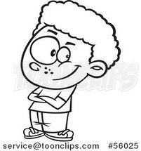 Black and White Cartoon Confident Little Boy with Folded Arms by Ron Leishman