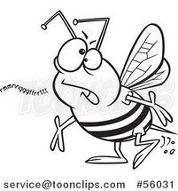 Black and White Cartoon Mumbling Bumble Bee by Ron Leishman