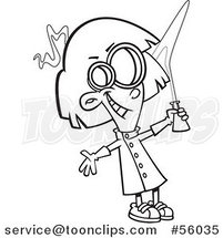 Black and White Cartoon Mad Scientist Girl Holding up a Flask by Ron Leishman