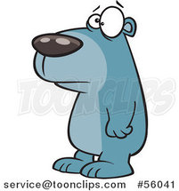 Cartoon Sad Blue Bear Facing Left by Toonaday