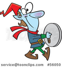 Cartoon Smiling Christmas Elf Marching and Playing the Cymbals by Toonaday