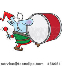Cartoon Smiling Christmas Elf Marching and Playing the Drums by Toonaday