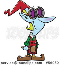 Cartoon Smiling Christmas Elf Worker with a Hammer and Goggles by Toonaday