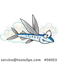 Cartoon Flying Fish over Clouds by Ron Leishman