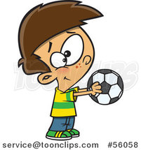Cartoon White Boy Holding out a Soccer Ball by Ron Leishman