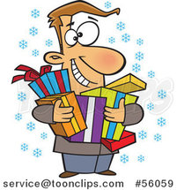 Cartoon Festive White Guy Holding Christmas Gifts by Toonaday