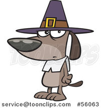Cartoon Thanksgiving Pilgrim Dog by Toonaday