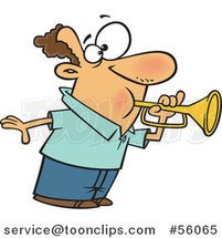 Cartoon White Guy Tooting a Horn by Toonaday