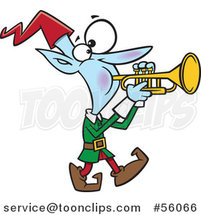 Cartoon Christmas Elf Marching and Playing the Trumpet by Ron Leishman