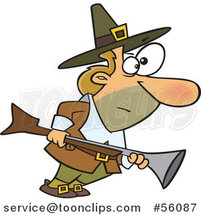 Cartoon White Thanksgiving Pilgrim Guy Turkey Hunting with a Blunderbuss by Toonaday