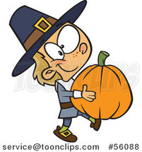 Cartoon White Pilgrim Boy Carrying a Big Pumpkin by Ron Leishman