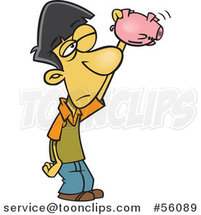 Cartoon Broke Asian Boy Shaking and Looking into an Empty Piggy Bank by Ron Leishman