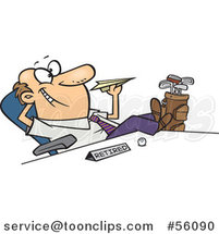 Cartoon Retired White Business Man with Golf Clubs at His Side, Throwing a Paper Plane at His Desk by Toonaday