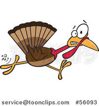 Cartoon Scared Thanksgiving Turkey Bird Running by Toonaday