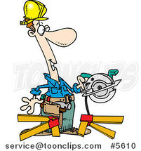 Cartoon Repair Guy Using a Circular Saw by Ron Leishman