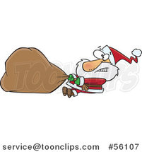 Cartoon Struggling Santa Clause Pulling a Heavy Christmas Sack by Toonaday