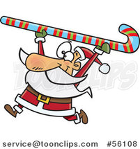 Cartoon Santa Clause Carrying a Giant Christmas Candy Cane over His Head by Toonaday