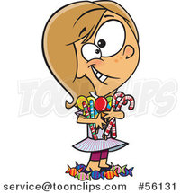 Cartoon White Girl Hugging and Standing in Her Candy Stash by Ron Leishman