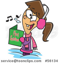 Cartoon Festive Brunette White Girl Singing Christmas Carols by Ron Leishman