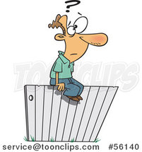 Cartoon White Guy Sitting and Thinking Ont He Fence by Ron Leishman