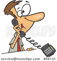 Cartoon White Businessman Talking on a Landline Telephone by Ron Leishman
